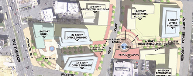 Original site plan for North Bethesda Gateway. The East Village site is on the right.
