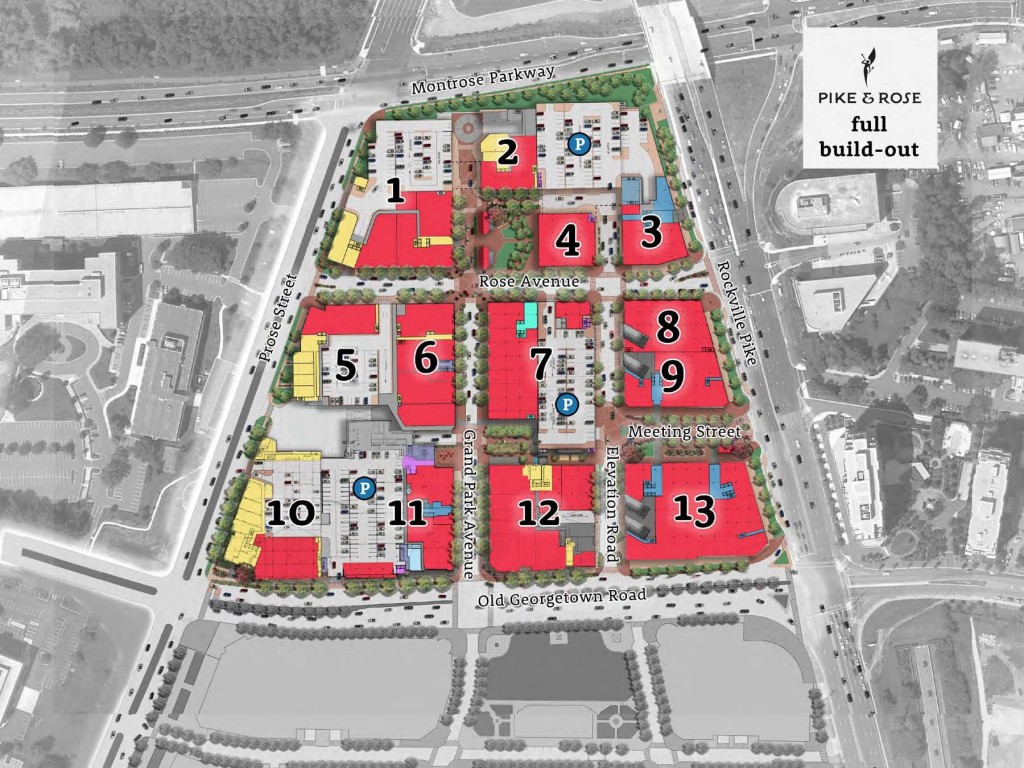 Site plan showing the new streets and blocks at Pike + Rose.