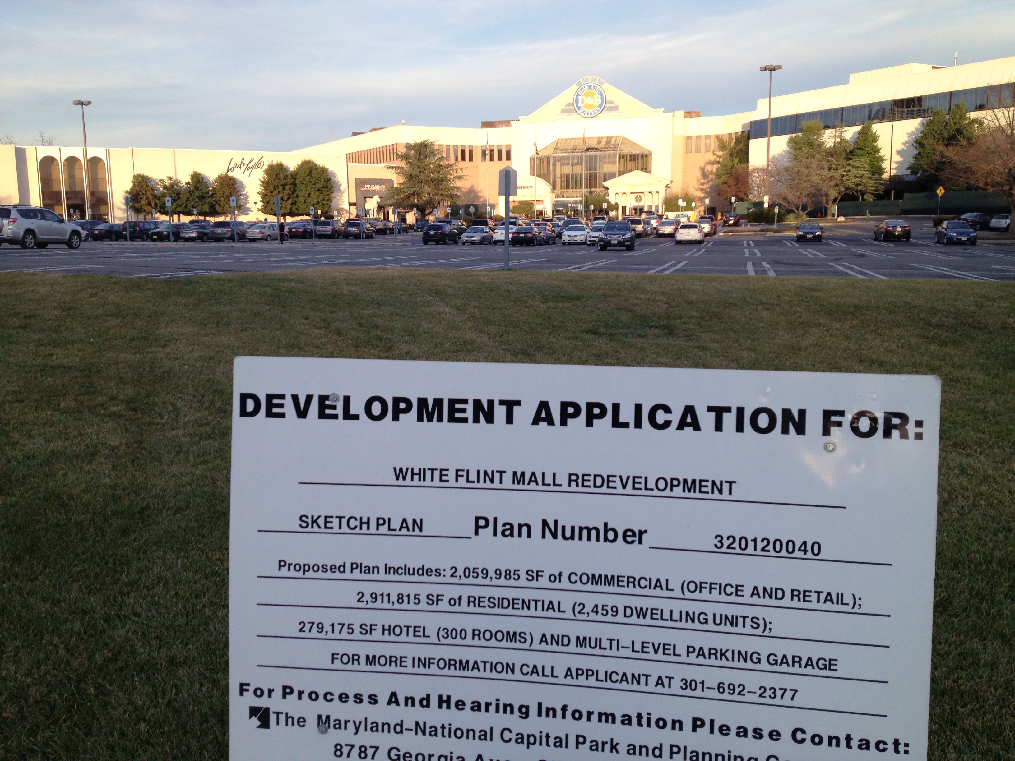 "The Planning Board approved a ""sketch plan"" for the redevelopment of White Flint Mall last year. Photo by the author."