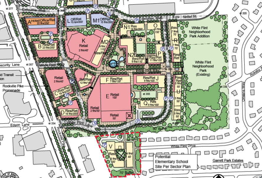 Site plan of the proposed redevelopment of White Flint Mall.