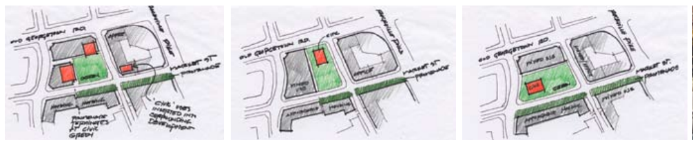 Studies of White Flint Civic Green from MoCo planners.