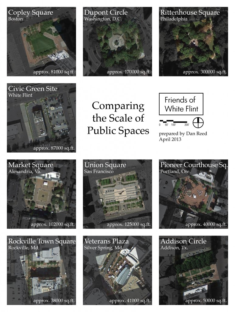 The future White Flint Civic Green compared to other public spaces around the country. All images are the same scale.