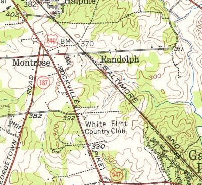 A 1944 map from the US Geological Society showing the White Flint Country Club and surrounding villages.