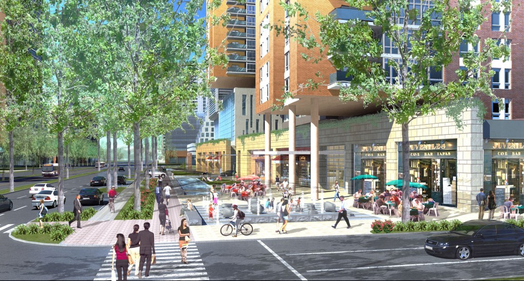 BF Saul proposes a pedestrian plaza along the west side of Rockville Pike.