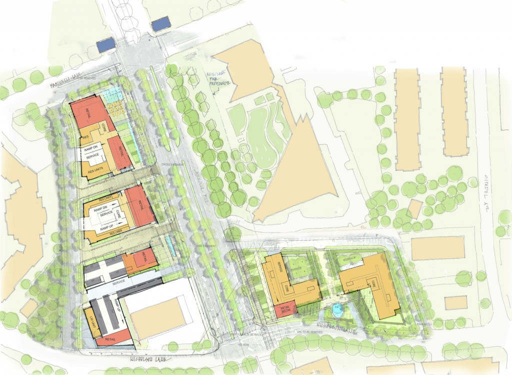 Site plan of BF Saul's proposal to replace Metro Pike Center with 5 mixed-use towers.