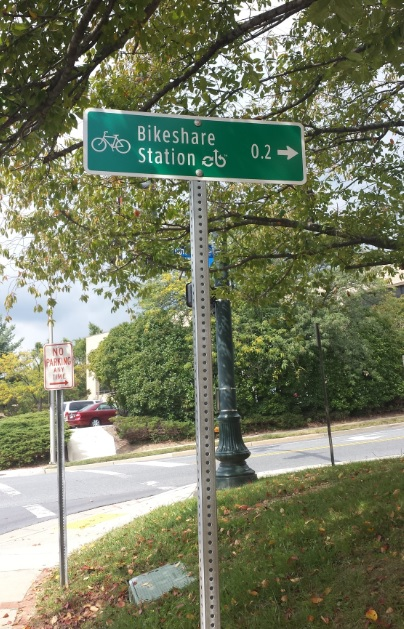 Bikeshare sign in Rockville. Photo by the author.