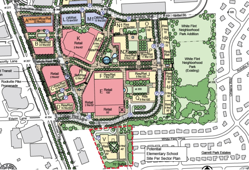 Sketch plan of White Flint Mall property.
