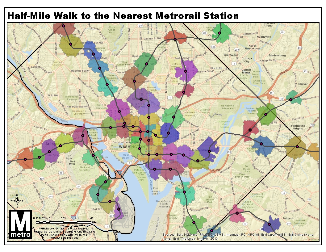 Map Of 1 2 Mile Walking Distance To Metro Stations Friends Of