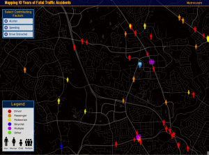 A map of ten years of fatal traffic accidents from Metrocosm