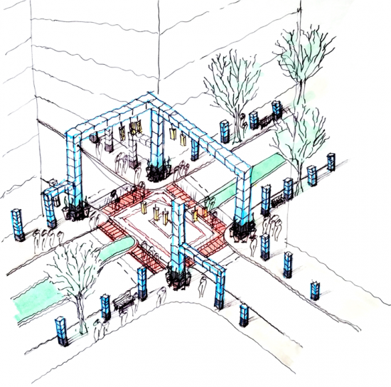 This rendering captures several ideas for celebrating how the intersections in the study area can reclaim the civic space and build identity. Large pylons serve a multitude of uses, chief among these uses are placemaking archways, and meeting destinations, as well as pragmatic pillars on which street lights can hang and phones may be charged. Image Source: ULI Washington.